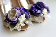 Vintage inspired purple, lavender and ivory handmade flowers shoe clips for weddings, special occasions, . SIMONE
