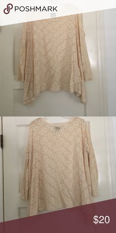 Audrey light knit, crochet long sleeve top OBO || Audrey Crochet long sleeve best worn with a cami underneath || Cream color || Size M Audrey Tops Tees - Long Sleeve