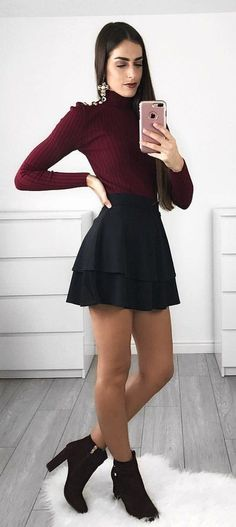 #fall #outfits women's maroon long-sleeved shirt and black mini skirt