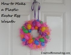 An easy, inexpensive Spring or Easter wreath you can make from plastic Easter eggs.