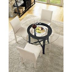 Halo Ebony Dining Table with 42 Glass Top in Dining Tables | Crate and Barrel $599