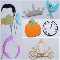 Cinderella Inspired Photo Booth Props ; Prince and Princess ; Disney Birthday Party ; Disney Party Decorations ; Disney Photo Booth