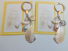Feathers Appear when Angels are Near Remembrance Sympathy Keepsake Key Ring Gift Pearl Guardian Angel Silver Plated Feather by JanbroCharmingGifts on Etsy Remembrance Gifts, Memorial Gifts, Organza Gift Bags, Lucky Charm, Novelty Gifts, Pearl Ring, Key Rings, Feathers, Silver Plate