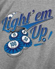 Light 'Em Up Pinball T-Shirt When you are pumping quarters in the pin, you gotta light it up.   www.epicgamewear.com  Lightweight, high quality, soft feel t-shirt that is carefully designed for long wash and wear.  50% cotton, 50% polyester, Dry-Blend fabric.  Heather Gray t-shirt with Multi Color Ink.