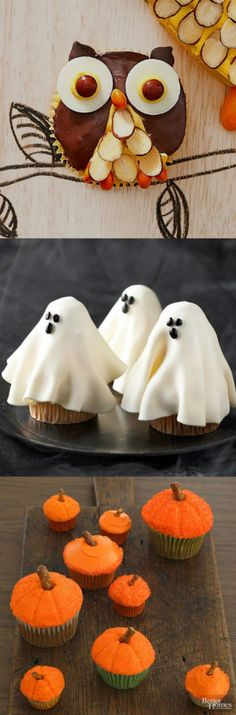Wickedly Fun Halloween Cupcakes   These cupcake creations are so cute and easy to prepare. Choose your favorite cupcake design here, and you'll be sure to thrill your Halloween party guests.  You can either decorate store-bought cupcakes or homemade cupcakes with these easy to follow recipes. The owls, black cats, pumpkins, and ghosts are all so adorable!