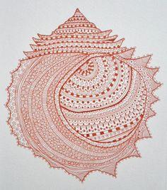 Zen Shell Henna Doodle ART Print 8 x 10 Coral Color Beach Decor