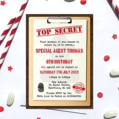 This listing is for a Spy Birthday Invitation, Digital File, PDF, DIY, secret agent invitation, spy invite, Boys Birthday Invitation, agent birthday printable --DETAILS-- This listing is for a 4 x 6 inch, 5 x 7 inch or A6 (postcard size) digital invitation customized with your message. Please select your size from the drop down menu. Send your text details in the note to seller box. Any missing or incomplete information will delay your proof. Double check that all information is correct…