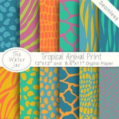 Vibrant Tropical Animal Print Digital Paper Pack by TheWaterJar