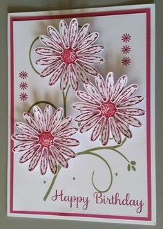 Birthday Card  designed by Sandy using Stampin UP Daisy Delight stamp set, punches and inks with other paper crafting supplies.