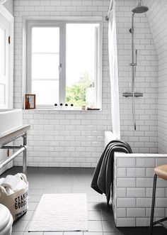 my scandinavian home: An industrial inspired Swedish home + competition winner. Great for washing dogs. Scandinavian Bathroom, Scandinavian Home, Bathroom Renos, Small Bathroom, Bathroom Ideas, White Bathroom, Bathroom Styling, Bath Ideas, Bathroom Remodeling