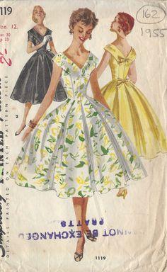 "1955 Vintage Sewing Pattern DRESS B30"" (162)"