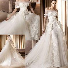 romantic sheath wedding | Exquisite Romantic Lace Wedding Dress (111166)