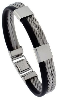 SOLID STAINLESS STEEL CABLE AND RUBBER BRACELET  bss25 ie.picclick.com