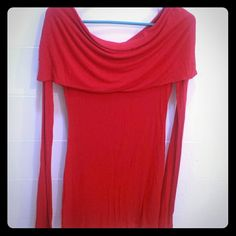 (On Vaca!!) Sexy Drape Cowl Neck Stretchy Tunic Red hot!!!  Super soft material....that really gives!!!  Allows for flawless draping.  Wear it off the shoulders for a sexy look or around the neck for a cowl affect.  It's prob long enough to be a short dress but the material is thin and would most def need something under it like those awesome lace extenders.  If you choose to wear it as a top....it is super cute as it bunches and really flatters almost any shape!!!  The arms are long for…