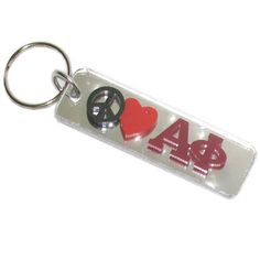 Alpha Phi Sorority Peace Love Keychain