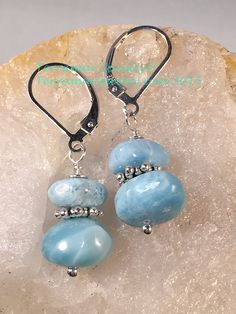Larimar Genuine Larimar Nugget Bead Earrings by TerraMarJewelry