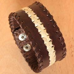 White and Brown Leather Cuff for Men Double by ArtisansintheAndes