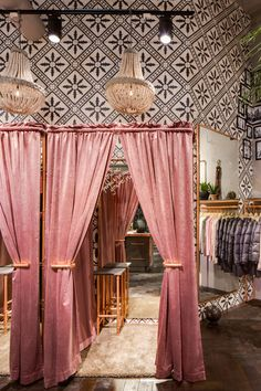 Odd Molly Boutique Lund, Sweden | Interior | Shop | Boho | Changing rooms | Chandelier
