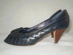 Vintage Peeptoe Pumps Blue Leather Woven Design Heels 7.5 M