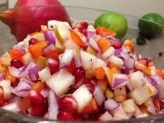 Pomegranate, pear, and lime salsa