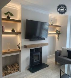 Oak Mantel and Floating Shelves from - Kat Clem Cottage Living Rooms, New Living Room, My New Room, Home And Living, Living Room Decor Uk, Living Room Walls, Living Area, Cottage Lounge, Dark Living Rooms