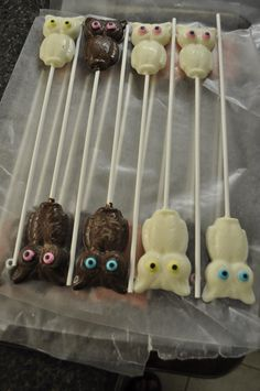 Chocolate owls for centerpieces for baby shower.