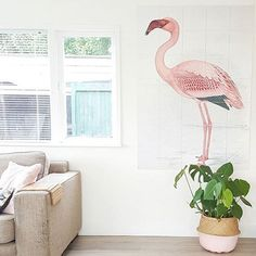 Greater Flamingo from € - Official IXXI ® store Greater Flamingo, Collage, Wall Decor, Wall Art, History Museum, Natural History, Tree Branches, Art Pieces, Card Making