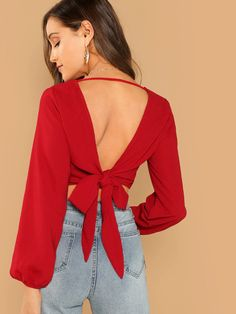 Shop Knot V-Back Wrap Top online. SHEIN offers Knot V-Back Wrap Top & more to fit your fashionable needs. Cropped Tops, Red Fashion, Fashion News, Woman Fashion, Fasion, Fashion Styles, Street Fashion, Fashion Dresses, Crop Top Elegante