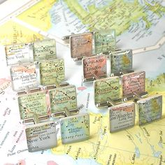Vintage Map Sterling Silver Square Cufflinks. You Select the Journey.. $50.00, via Etsy by dlk designs