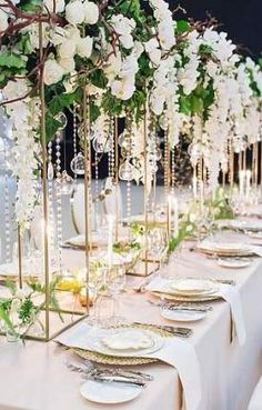 Top 5 Never Been Seen Wedding Table Centerpieces - Put the Ring on It Wedding Reception Flowers, Wedding Flower Decorations, White Wedding Flowers, Wedding Colors, Wedding Bouquets, Flowers Decoration, Reception Ideas, All White Wedding, Decor Wedding