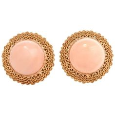 Retro Italian Angel Skin Coral Yellow Gold Stud Earrings | See more rare vintage Clip-on Earrings at https://www.1stdibs.com/jewelry/earrings/clip-on-earrings