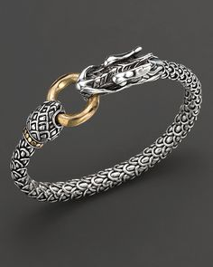 John hardy Naga Gold And Sterling Silver Dragon Bracelet in Gold (no color) Emerald Jewelry, Gold Jewelry, Jewelry Accessories, Jewlery, Fine Jewelry, Jewelry Making, Dragon Bracelet, Dragon Jewelry, Mens Sterling Silver Necklace