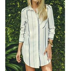 """Stripe Chiffon Button Down Blouse  Soft chiffon blouse, button down style. Blue stripes on white background. Front pocket. 33"""" total length. 24"""" sleeves. Brand-new. boutique Tops Blouses"""