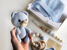 Excited to share this item from my #etsy shop: MOM TO BE baby boy blue bear gift box, knitted cotton hat, baby rattle bear, paci clip teether Baby Boy Toys, Baby Boy Gifts, Blue Teddy Bear, Teddy Bear Baby Shower, Birth Gift, Cotton Hat, Knitted Baby Blankets, Crochet Bear, Baby Rattle