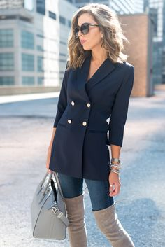 Longline Blazer in navy blue with front double breasted button placket and collar, OTK taupe boots.