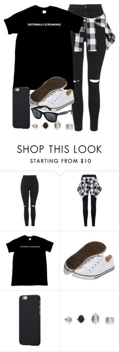 """Style #11094"" by vany-alvarado ❤ liked on Polyvore featuring Topshop, Converse and Ray-Ban"