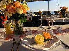 Lemon Place Setting at Wedding. By Cinque Terre Wedding: www.cinqueterrewedding.com