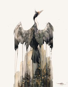 New Zealand King Shag by Rachel Walker 2012 . This one is one of my other favourites, i remember watching a horror film whilst painting it.