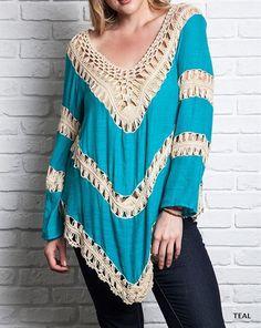 Eliza Bella for Umgee New Boho Colorblock Knit Tunic Top Plus Sizes XL, 1X, 2X