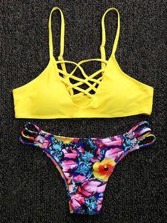 32cf4a71c68cc Spaghetti Strap Criss-Cross Floral Print Bikini Set. Cute Teen SwimsuitsModest  ...