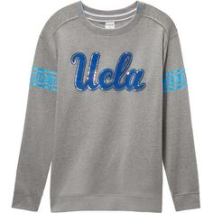 PINK University Of California Los Angeles Bling Campus Crew ($39) ❤ liked on Polyvore featuring tops, black, oversized tops, crew top, pink top, crew neck top and crew-neck tops
