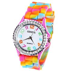 $3.84 Geneva Quartz Watch 12 Arabic Number Indicate Rubber Watch Band for Women - Colorful