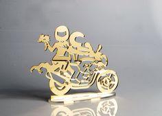 Topo de Bolo Casal na Motocicleta