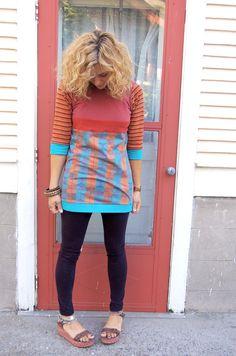 Eco  baby doll Shirt tunic cowl neck  Upcycled Clothing by zasra