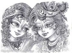Krishna and Balaram - by Nitya Tarangini devi dasi Krishna Drawing, Krishna Painting, Krishna Art, Hare Krishna, Buddha Drawing, Lord Krishna Images, Radha Krishna Pictures, Portrait Sketches, Art Drawings Sketches