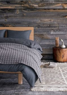 I usually don't care for gray but I like these tones and they look great with the wood wall.