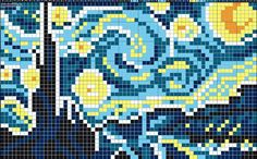 Starry night painting pattern / chart for cross stitch, knitting, knotting, beading, weaving, pixel art, and other crafting projects.                                                                                                                                                     More