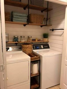 Beautiful and simple home decor. Small laundry room organization Laundry closet ideas Laundry room storage Stackable washer dryer laundry room Small laundry room makeover A Budget Sink Load Clothes Small Laundry Rooms, Laundry Room Design, Laundry In Bathroom, Basement Laundry, Laundry In Kitchen, Farmhouse Laundry Rooms, Vintage Laundry Rooms, Basement Walls, Laundry Decor