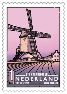 Hubertus Small Genhout, situated on a ridge just outside , (Dutch Windmills) . Moma Art, Holland Windmills, Simple Line Drawings, Rare Stamps, Postage Stamp Art, Ligne Claire, Le Moulin, Tampons, Delft