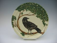 Raven Plate a Handmade Original by jeannepottery on Etsy